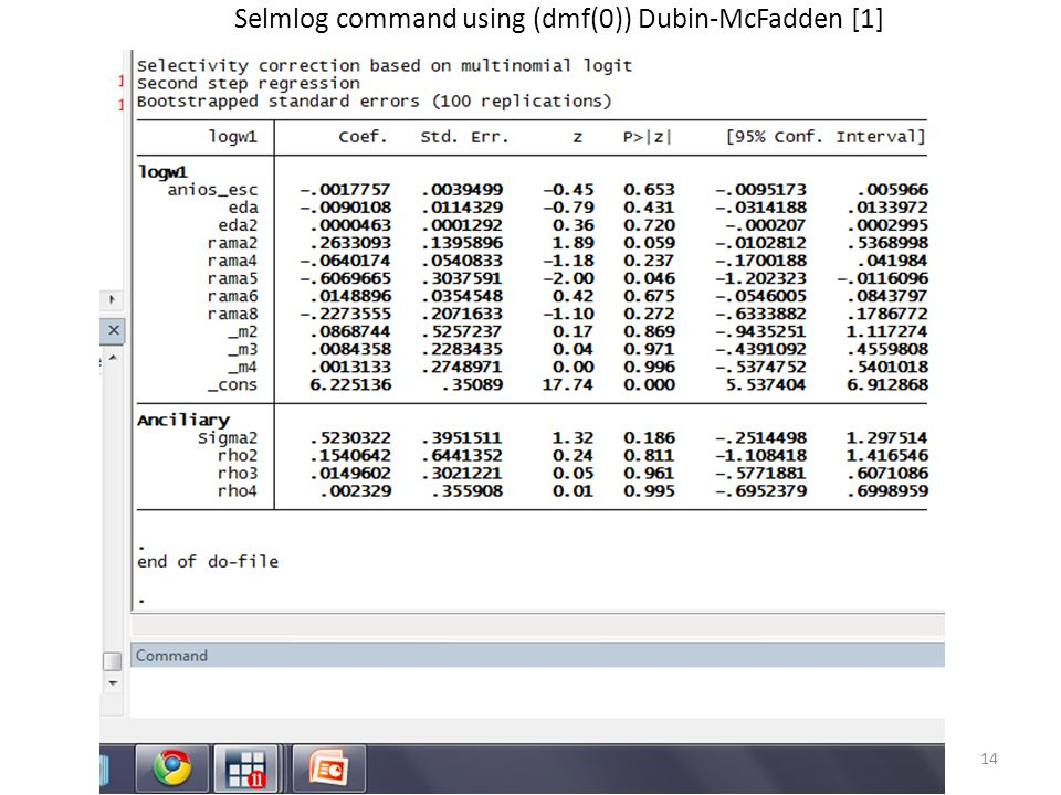 Selmlog command using (dmf(0)) Dubin-McFadden [1]